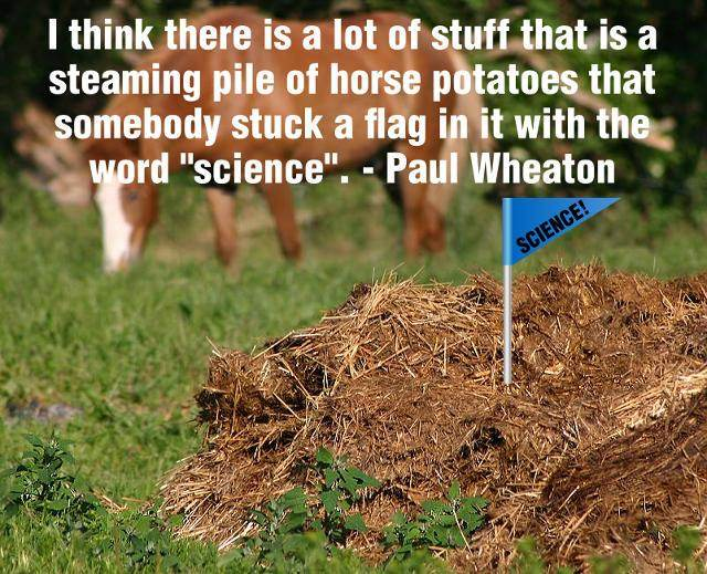 I think there is a lot of stuff that is a steaming pile of horse potatoes that somebody stuck a flag in it with the word science