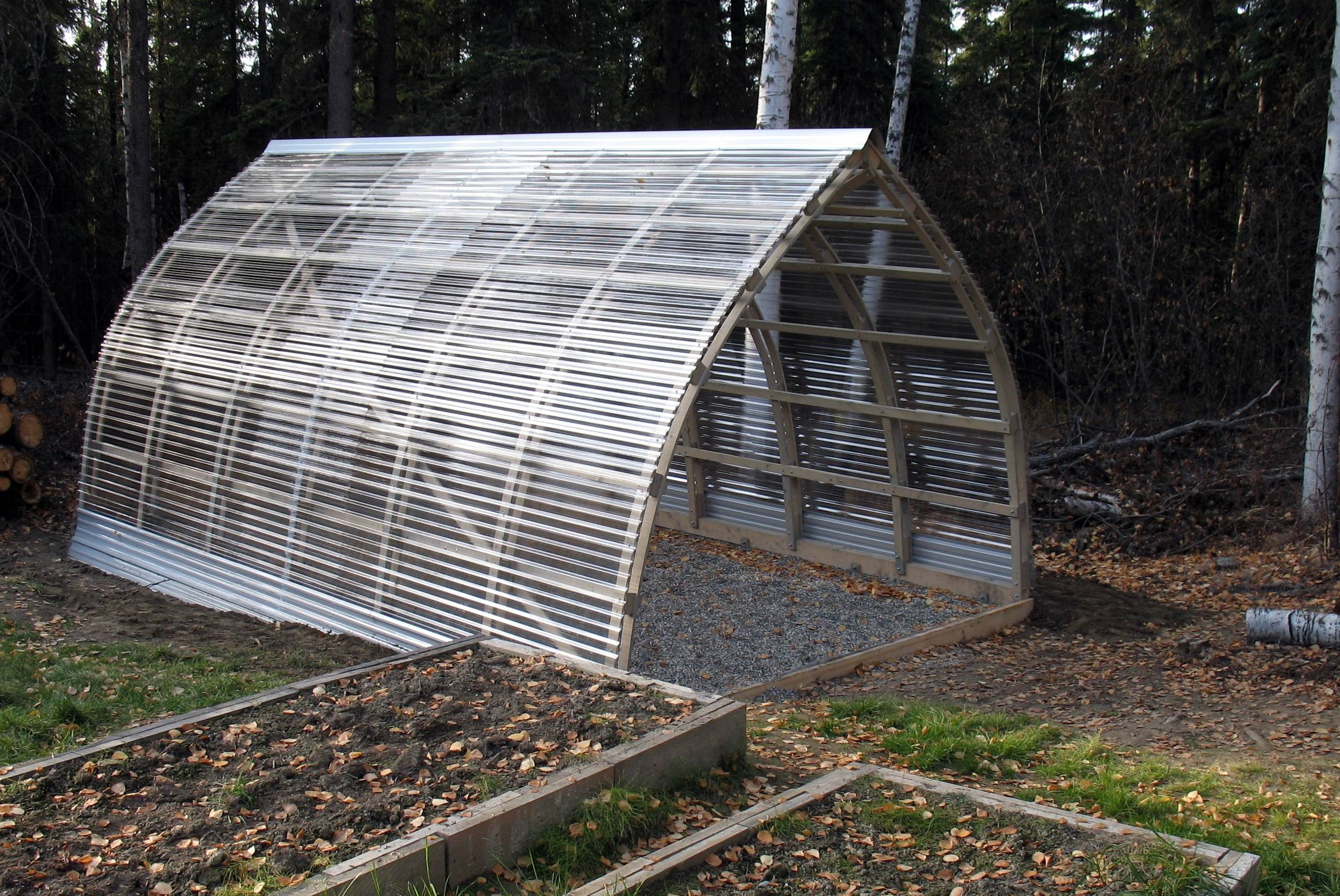 Hoop quonset hut type building for temporary living for Gothic greenhouse plans