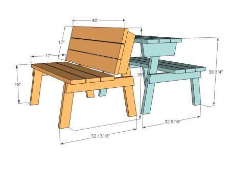 Picnic table ideas some fold into a bench woodworking forum at chad duncan wrote i built this table using the plans available there works well as a bench or table httpana white201105picnic table converts watchthetrailerfo