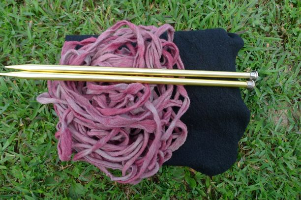 Original black wool knit and redyed fabric yarn