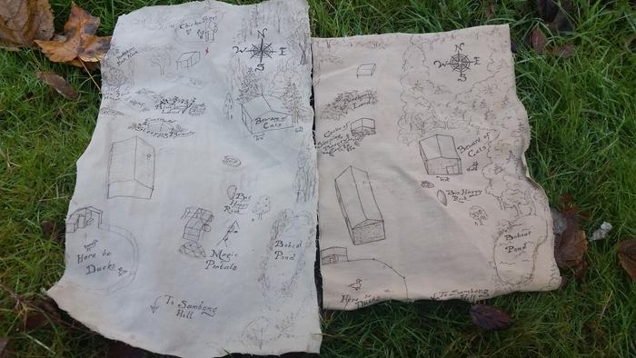 hand drawn map on old pant's cloth. Permaculture maps