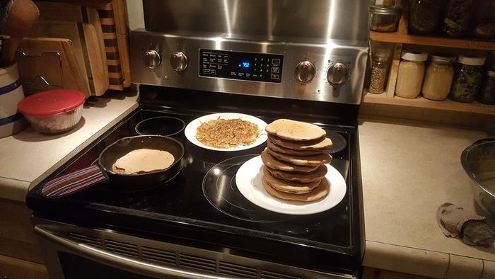 Chef Robbie made pancakes and hashbrowns for dinner. Work hard eat well!