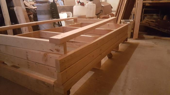 Rolling shelf deconstructed, shelves being prepped
