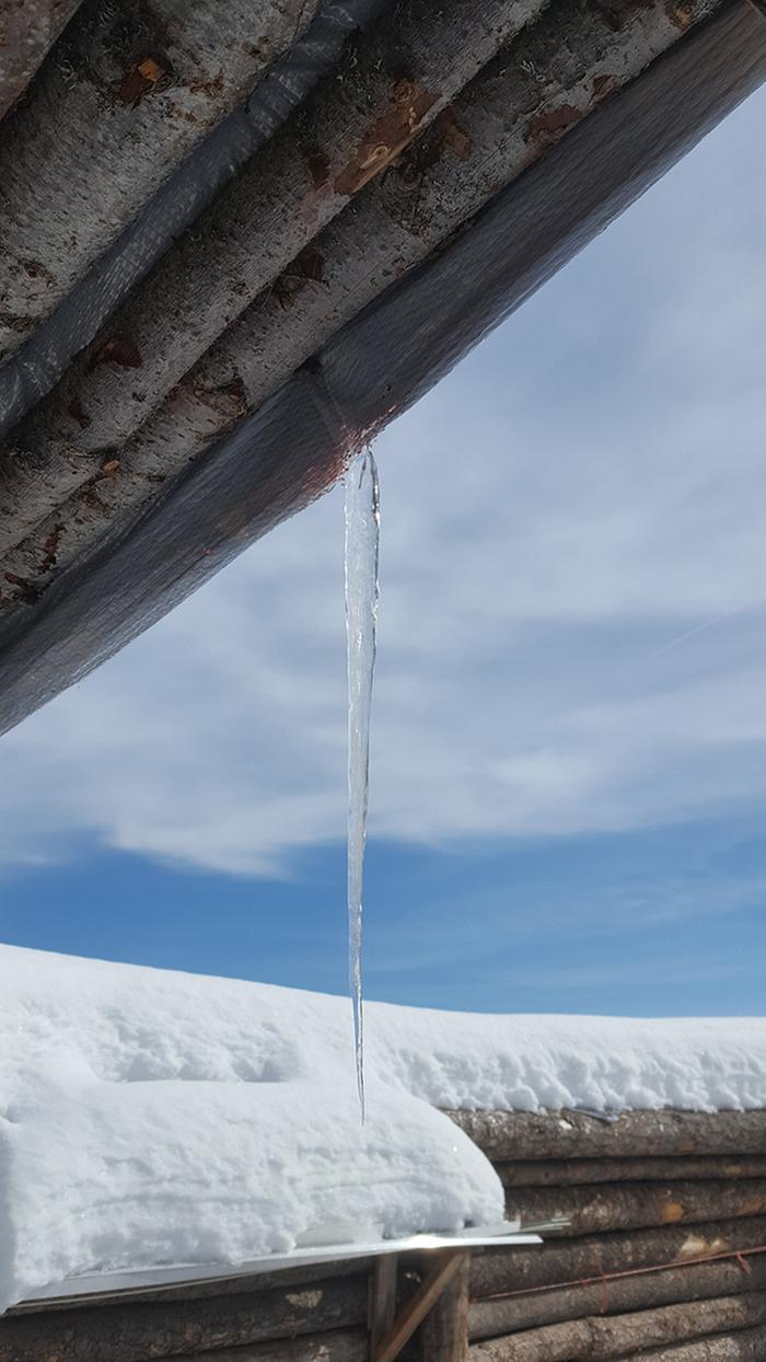 Icicle that formed on one strand of tarp blowing in the wind. The power of Nature and Time.