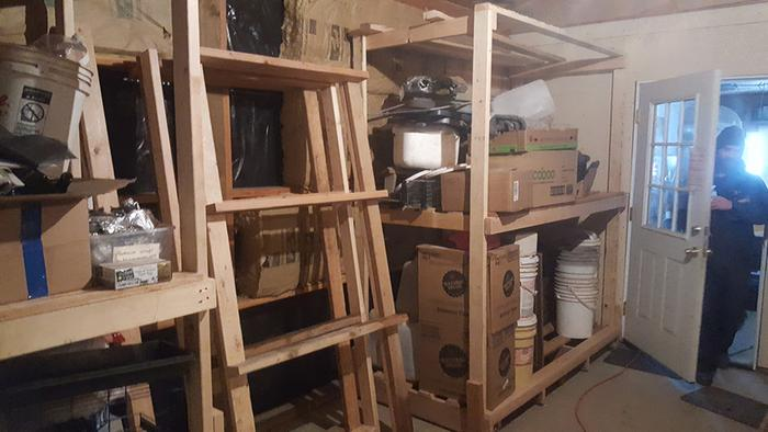 Two rolling shelves up, third one under construction