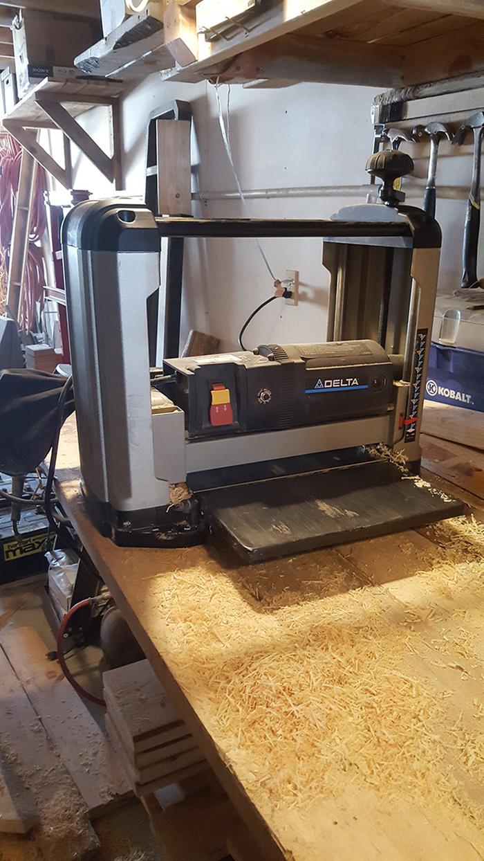 Learned how to use the benchtop wood planer today