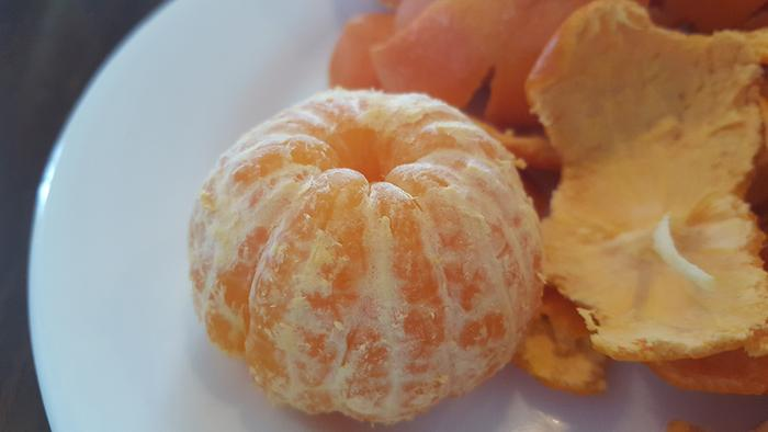 Breaking fast with some succulent tangerines.