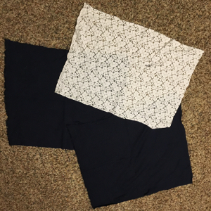 Materials - navy and lace
