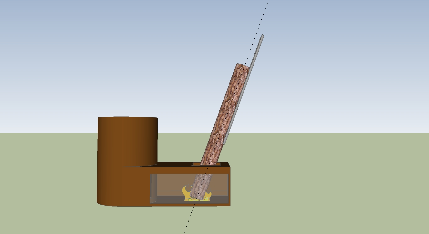 rocket stove slide allows for burning of 6 foot long firewood