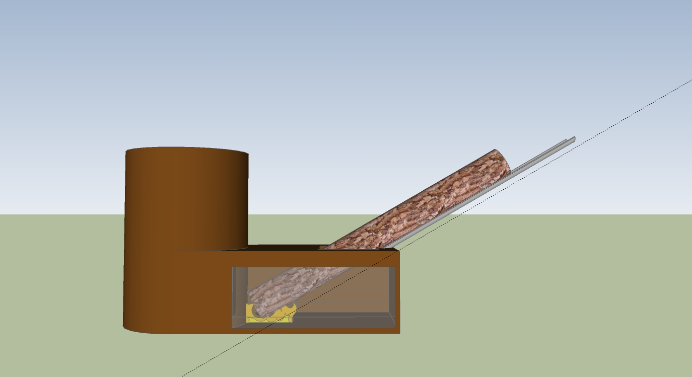 [Thumbnail for RMH-30-deg.jpg] - Rocket Stove Slide Allows For Burning Of 6 Foot Long Firewood