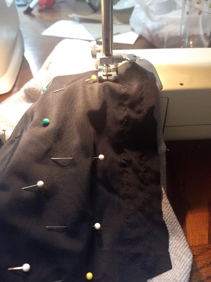 "Sewing in progress. My sewing machine manual calls this stitch a ""mending stitch."""