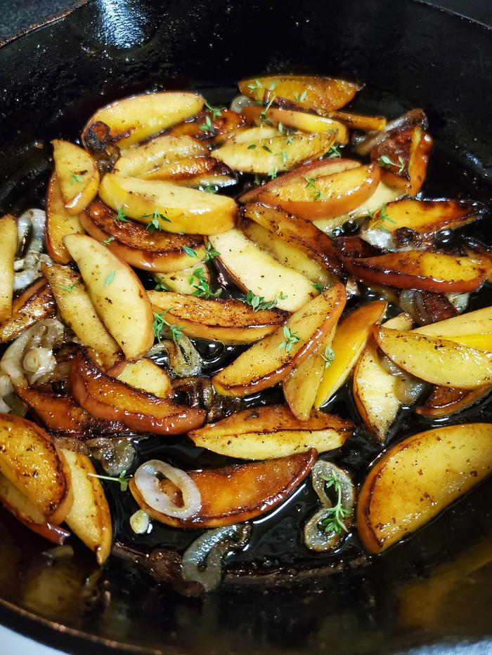 You can stir fry non-tradition ingredients such as this savory apple shallot stir fry.