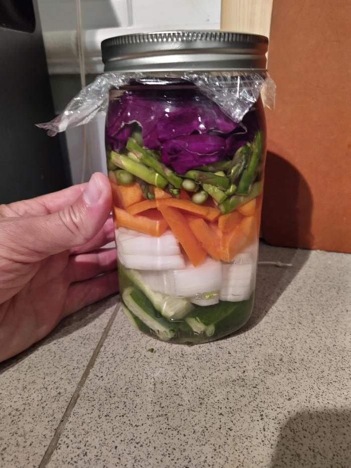 Quart jar, Full of brine and veggies