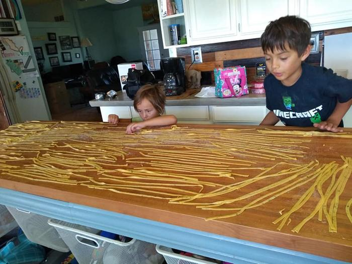 kids helping make pasta 2