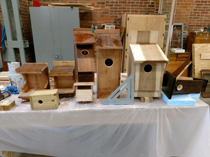The collection of boxes made. Note the larger boxes have had the front modified to open for cleaning while still providing structure.