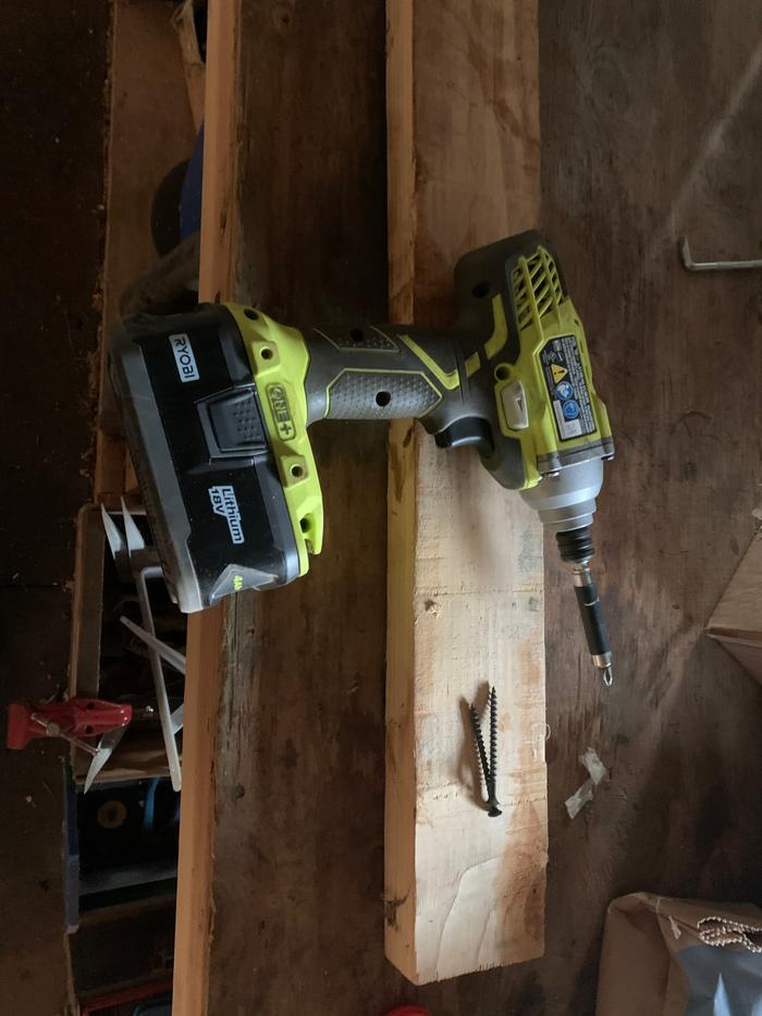 Building supplies 2x4, screws, drill, drill bit