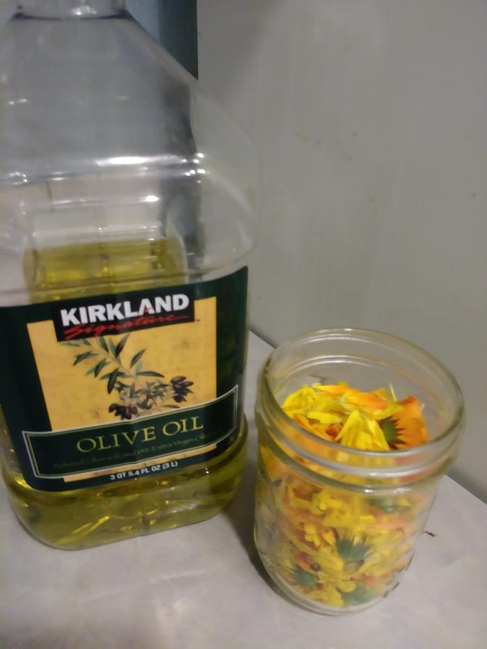 flowers and olive oil