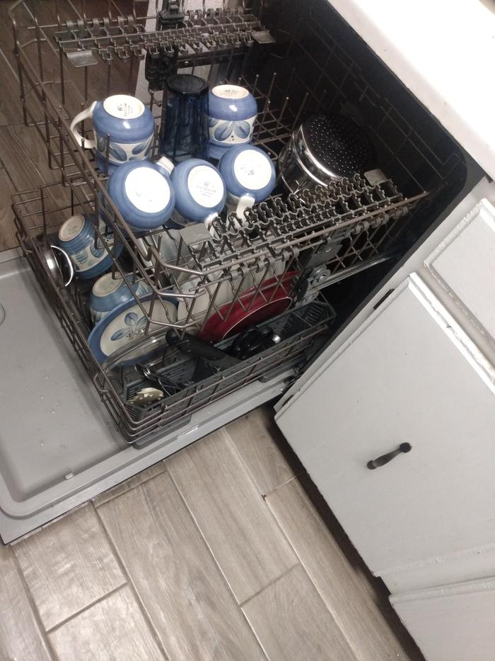 Everything in the completely unused dishwasher. I never actually run it.