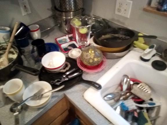 Sink and counter full of dishes that weren't there when I went to bed last night.