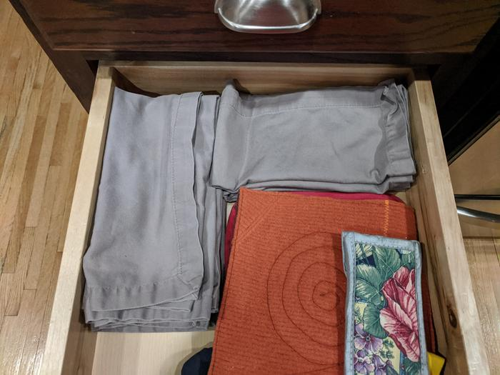 Clean napkins in their drawer
