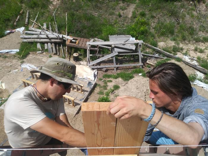 Fred and Zach working on the beginning of the facade, figuring the methodology