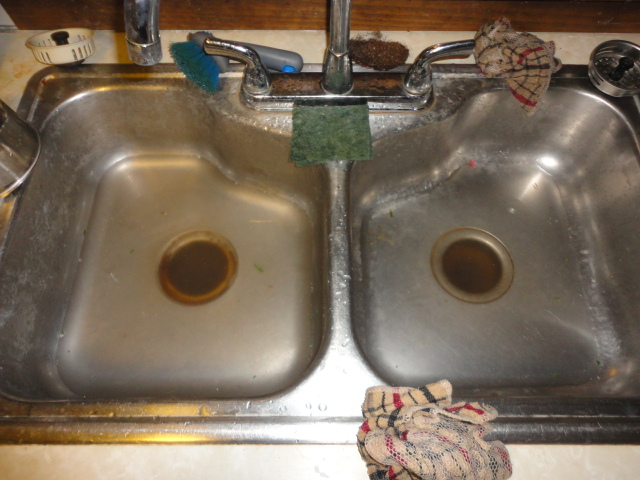 Here is a photo of the backed up sinks.