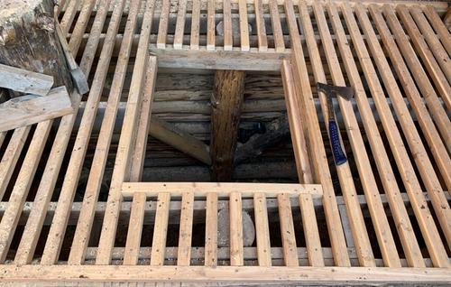framing over the cold sink in the greenhouse