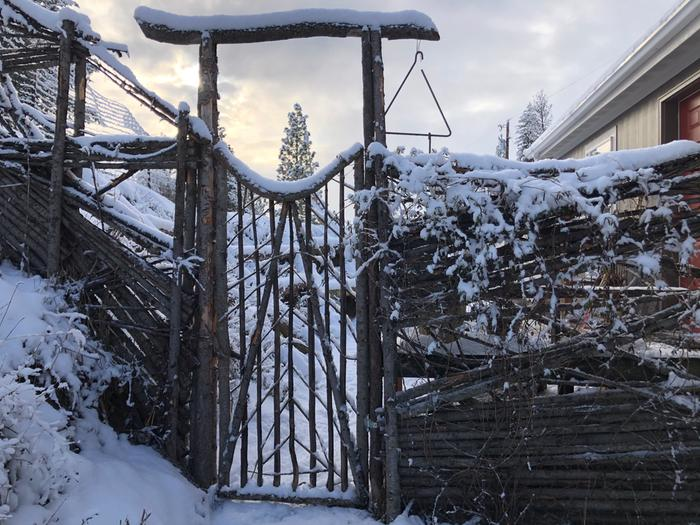 junkpole fense and gate covered in snow