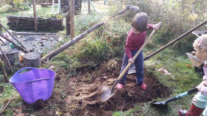 Here's the kids helping dig