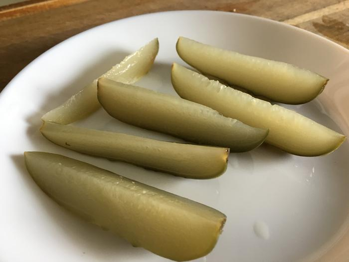 sliced fermented pickles, two years in refrigerator
