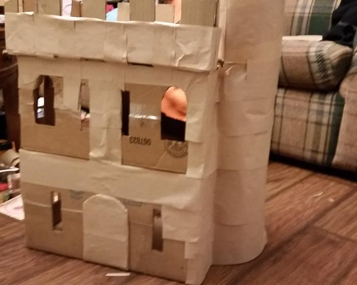 cardboard and packaging tape castle