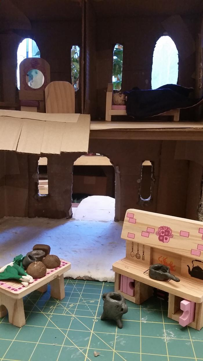 sculpy clay castle accessories on Mellisa Doug castle furniture in cardboard castle