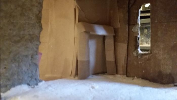 cardboard fireplace framework for dollhouse castle