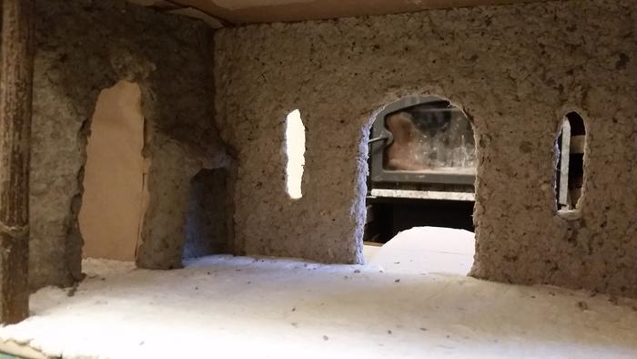 inside of paper clay castle with fireplace