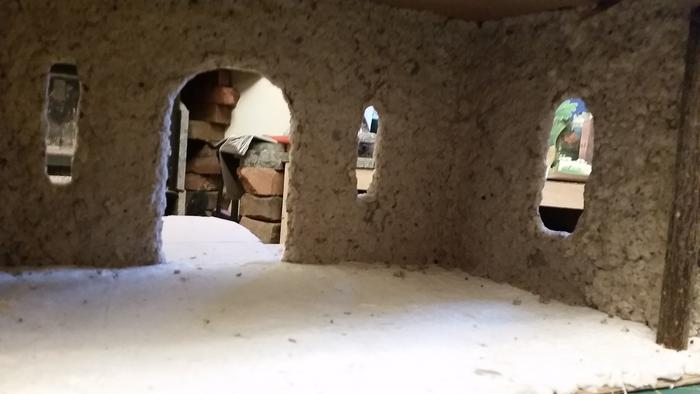 inside of paper clay castle with gypsum