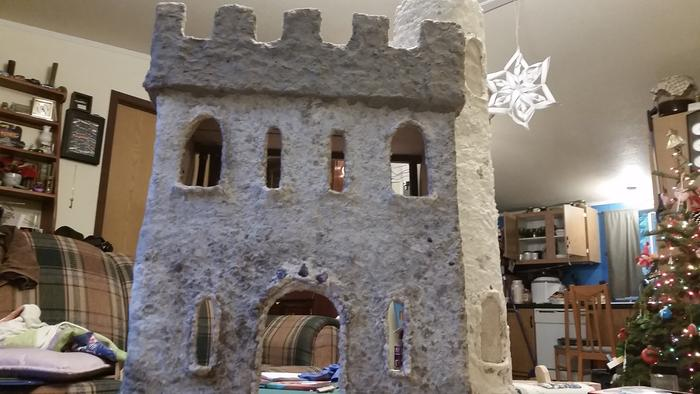paper clay castle with turret and jewels