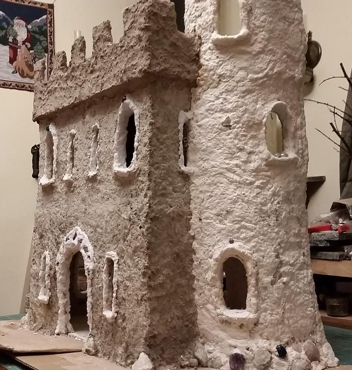 doll house castle with white turret