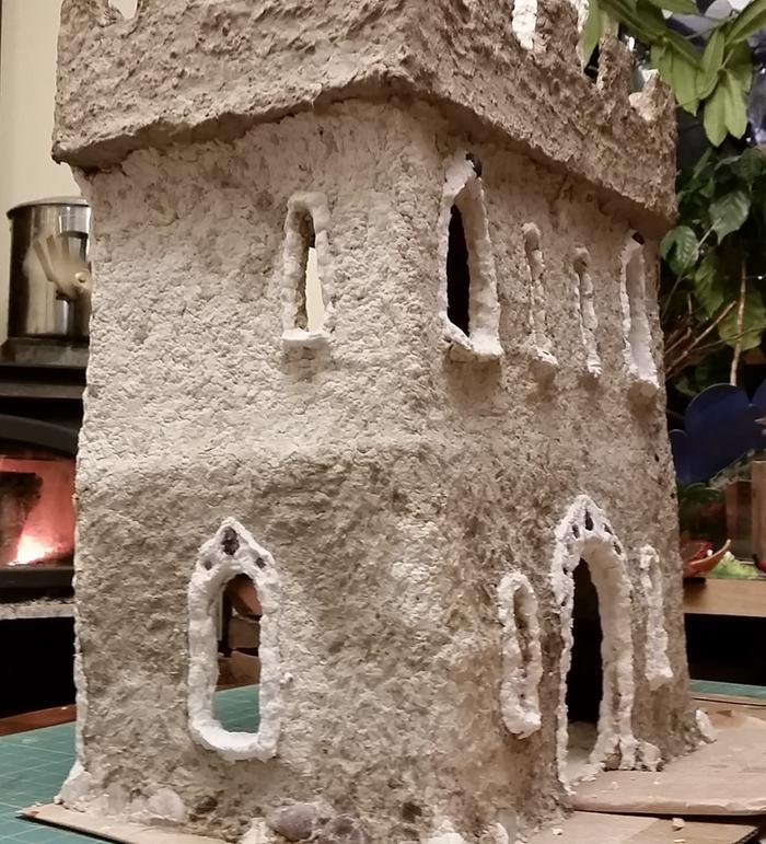 cardboard and paper clay castle