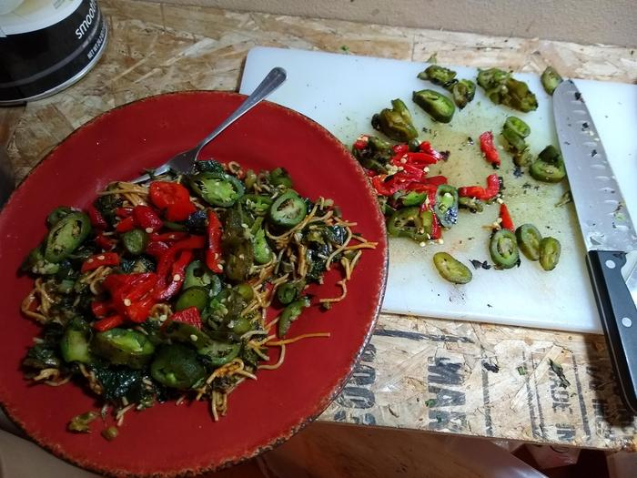 Fire roasted jalapenos, and red bell pepper added. Good A.F. :)