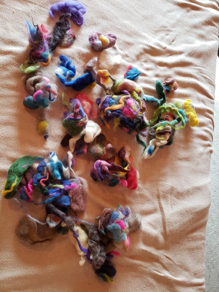 my old beat-up stash of roving scraps