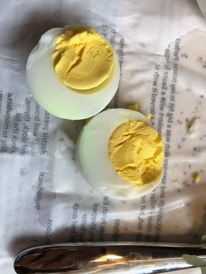 hard boiled eggs with green albumin