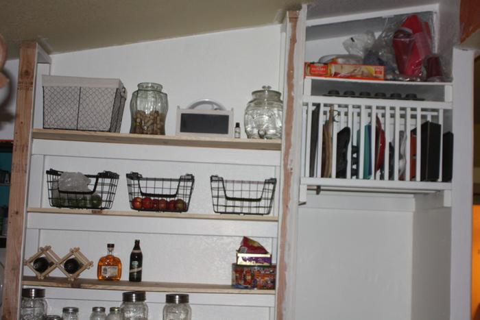 Pantry and above fridge storage.