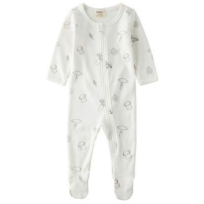 organic cotton sleep and play pajamas with mushroom designs