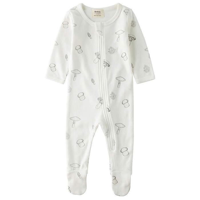 organic cotton sleep and play pajamas with mushroom designs