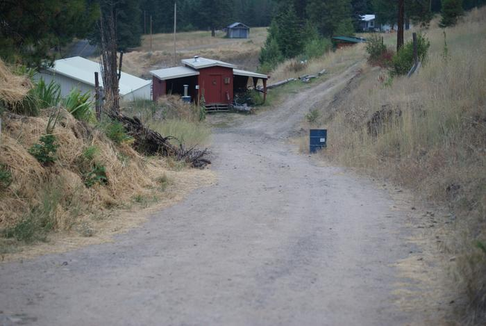 The Road to Red Cabin, Willow Bank to right, Shop to left