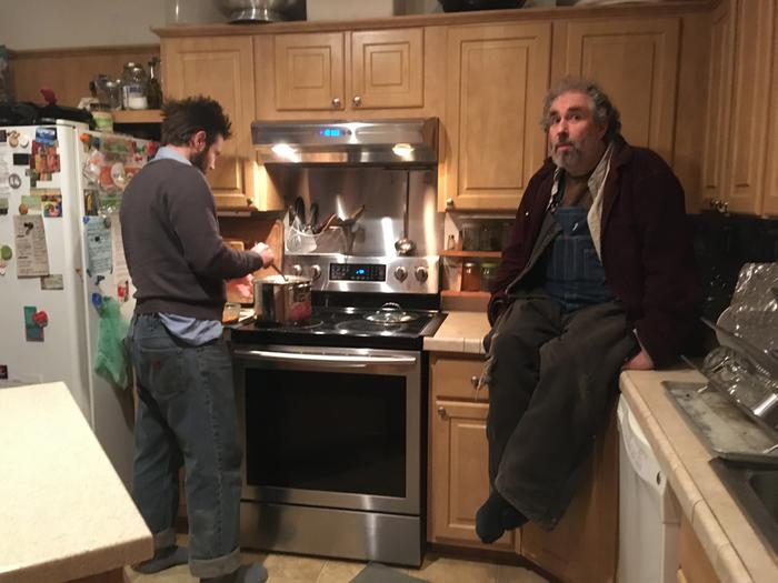 Chatting with paul in the kitchen