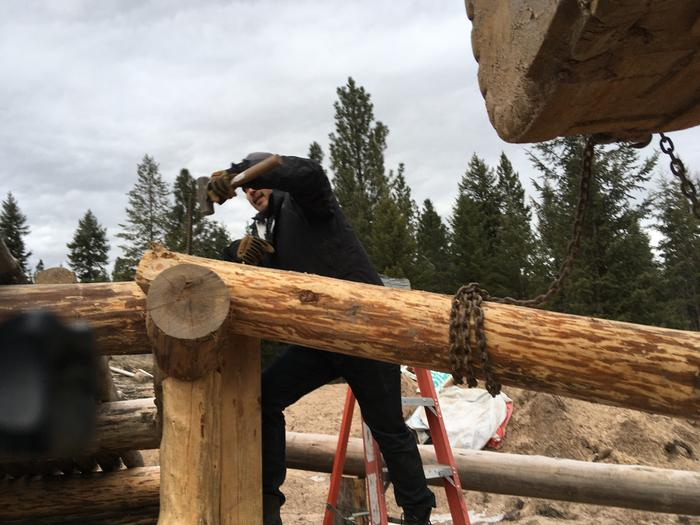 Amey installs a rafter spike with one hundred+ strikes.. what stamina and determination