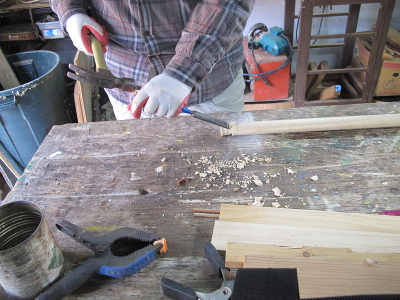 Using a chisel to notch the ends of the Loom Bar dowels