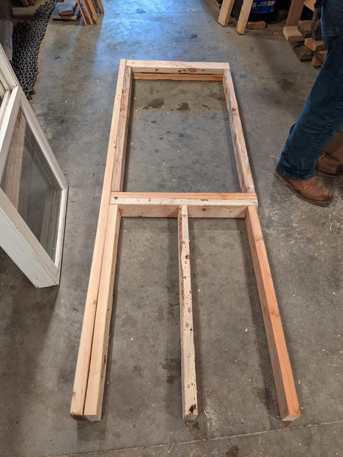First window framed in the shop and ready for install