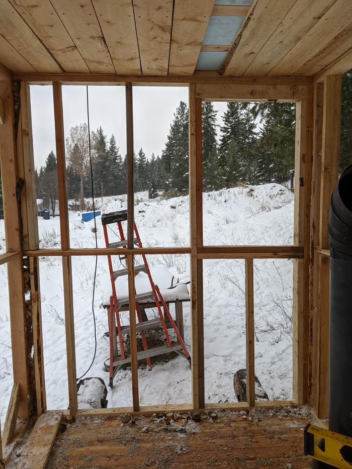 South window frame and wall studs installed
